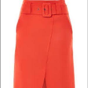 Topshop Red-Orange Midi Curve Wrap Belted Skirt